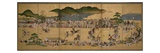 Six-Fold Screen Depicting a Dog Chasing Contest  Japanese  1624-43 (Ink  Paint and Gold on Paper)