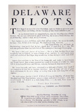 Facsmile of the Proclamation from the Philadelphia Patriots to the Delaware Pilots Warning Them