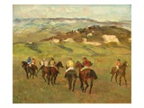 Jockeys on Horseback before Distant Hills  1884 (Oil on Canvas)