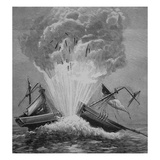 The First Torpedo  Invented by Robert Fulton (1765-1815) Blows Up the Danish Brig 'Dorothee'