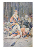 A British Drummer Boy Stands Firm During a French-Led Indian Ambush (Colour Litho)