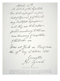 Letter of Capitulation of Yorktown  Signed by Lord Cornwallis  19 October 1781 (Litho)