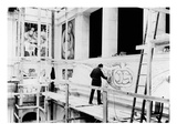 Diego Rivera Painting the East Wall of 'Detroit Industry' (B/W Photo)