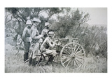 British Machine-Gun Firing on Boers from Ambush Near Krantz Kloof (B/W Photo)