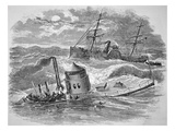 The Loss of the Ironclad Uss 'Monitor' Off Cape Hatteras  30th December 1862 (Litho)