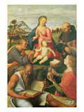 Madonna and Child with Ss Peter  Jerome and Mary Magdalene with a Bishop  1500 (Oil on Panel)