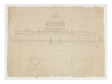 Elevation of the State House  Columbus  Ohio  C1838 (Graphite Pencil on Beige Wove Paper)