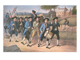American 'Minute-Men' Marching Against the British to the Martial Music of Fife and Drum