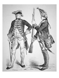 Hessian Soldiers of 1770  in their Uniforms from the American Revolutionary War (Engraving)