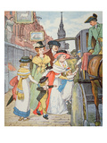 Family Life in Colonial America - Street Scene in Boston (W/C on Paper)