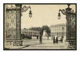 Postcard Depicting the Square Stanislas and the Gilt Wrought-Iron Railings of Jean Lamour in Nancy