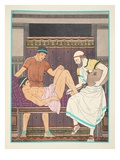 Having an Enema  Illustration from 'The Works of Hippocrates'  1934 (Colour Litho)