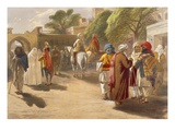 Peshawar Market Scene  from 'India Ancient and Modern'  1867 (Colour Litho)