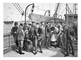 Us Government Health Officers on an Emigrant Ship  Quarantine Point  New York  1887 (Engraving)
