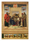 Coronation of the Virgin with SS Paul  Peter  Jerome and Francis of Assisi