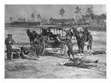Federal Army Ambulance Corps in Action after a Battle (B/W Photo)