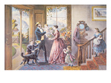 Welcome Home  Father'  Published by Currier and Ives  1868 (Colour Litho)