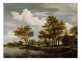 A River Scene  1658 (Oil on Oak Panel)