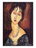 Jeanne Hebuterne with a Necklace  1917 (Oil on Canvas)
