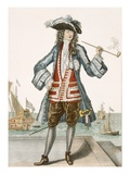 Captain Jean Bart of Dunkerque (Coloured Engraving)