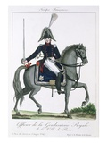 Mounted Officer of the Royal Gendarmerie of Paris  C1790 (Colour Litho)