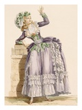 Lady&#39;s Gown in Mauve and Green Taffeta with a Matching Bonnet  Engraved by Dupin 