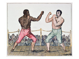 Tom Molineaux Versus Tom Cribb  28th September  1811 at Thistleton  England (Colour Litho)