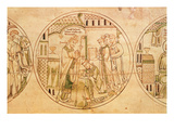 Harl Roll Y6 Roundel 11 St Guthlac Is Ordained Priest by Bishop Hedda  from the Guthlac Roll