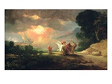 Lot Fleeing from Sodom  1810 (Oil on Panel)