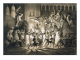 Delhi: Cortege and Retinue of the Great Moghul  from 'Voyages in India'  1859 (Litho)