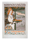 Advertisement for the Thanksgiving Edition of 'Harper's Bazar'  1894 (Colour Litho)