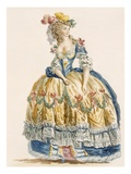 Lady's Elaborate Ball Gown  Engraved by Dupin  from 'Galeries Des Modes Et Costumes Francais'