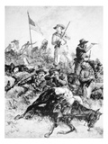 Illustration of the Battle of Little Bighorn  25th June  1876 (Litho)