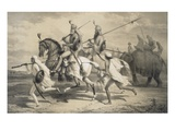 Sikh Chieftans Going Hunting  from 'Voyages in India'  Pub by Smith  Elder and Co  1858 (Litho)