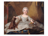 Portrait of Marie-Zephyrine (1750-55) of France with Her Dog  1751 (Oil on Panel)