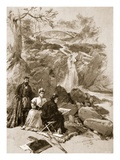 Queen Victoria as an Artist: Her Majesty Sketching the Falls of Garrawalt  Braemar (Litho)