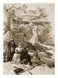 Queen Victoria as an Artist: Her Majesty Sketching the Falls of Garrawalt  Braemar (Litho)