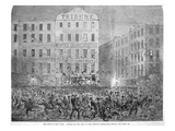 Draft Riots in New York  'Night Attack by the Mob on the Tribune Newspaper Office'  1863 (Litho)