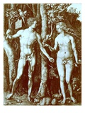Adam and Eve  1504  from Reproduction in 'Albrecht Duerer Kupferstiche'  Published 1920