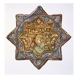 Persian Lustred Wall-Tile: Circle and Star Shape  19th Century (Colour Litho)