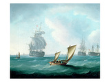 British Men-O'-War and a Hulk in a Swell  a Sailing Boat in the Foreground (Oil on Canvas)