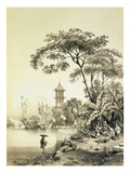 A Pagoda on the Macao-Canton Canal  Plate 21 from 'Sketches of China'  Engraved by Eugene Ciceri