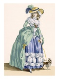Lady Walking Her Dog  Engraved by Dupin  Plate No190