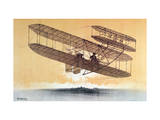 Wilbur Wright (1867-1912) in His &#39;Flyer&#39;  before 1914 (Colour Litho)