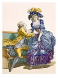 Young Lady in Electric Blue and Purple Gown with Her Young Suitor  Engraved by Dupin  Plate No206