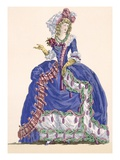 Elaborate Court Dress in Electric Blue with Tassel Edging  Engraved by Dupin  Plate No275
