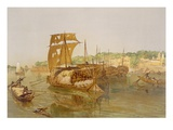 Boats on the Ganges  from 'India Ancient and Modern'  1867 (Colour Litho)