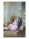 Couple Chatting  Detail from a Family Scene  C1840 (Colour Litho) (See 407341)