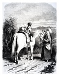 Marie and Little Pierre on a Horse  Illustration from 'The Devil's Pool' by George Sands  1851