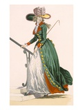 Lady Wearing German Style Riding Outfit  Engraved by Le Beau  Plate No250